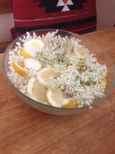 Elder flowers and lemon waiting to recieve sweet hot water.